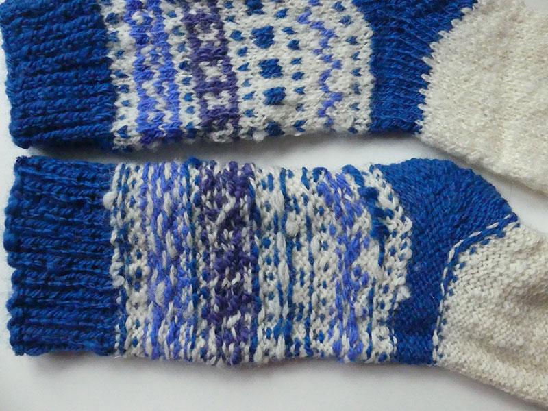 eingewebter, mitgeführter Faden auf der Innenseite der Socke
