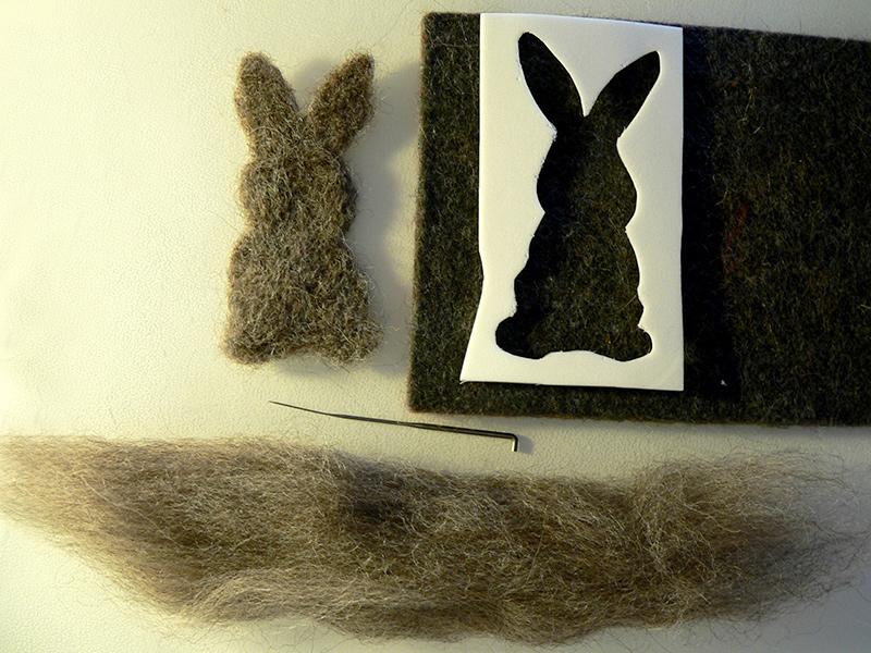 Hase aus Wolle filzen mittels einer Form aus Moosgummi