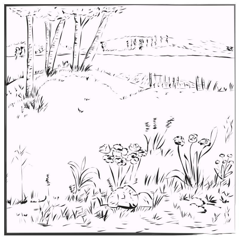 eine Landschaft hinter dem Dorf
