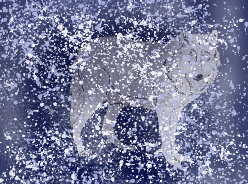 gezeichneter weißer Wolf für meine Geschichte