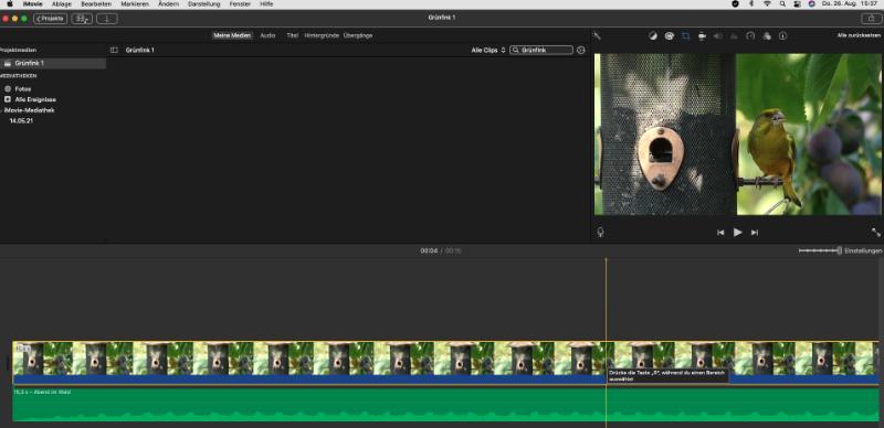 Bewegte Bilder mit iMovie. Der Rechner bringt es mit.